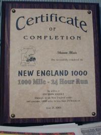 New England 1000 Certificate