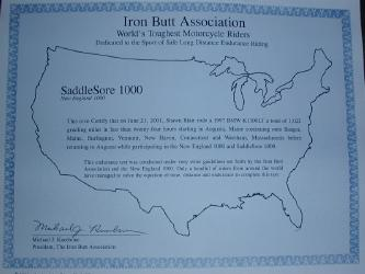 Iron Butt Saddlesore Certificate